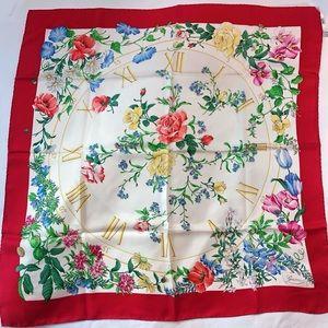 Gucci Red Silk Floral Clock Scarf 💐